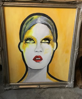 schilderij portret met veel geel Twiggy