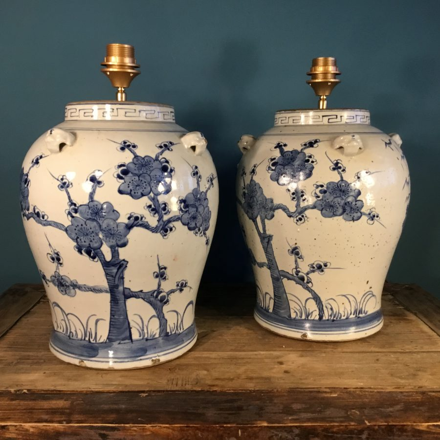 set lampvoeten grote chinese pot